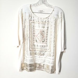 Chico's embellished graphic beaded tee top